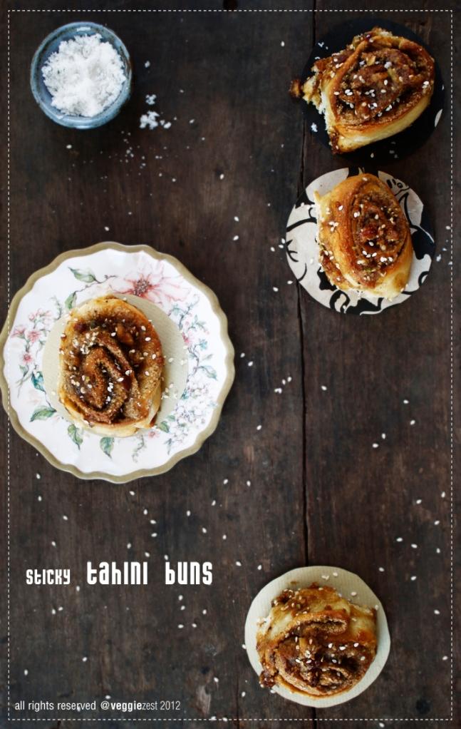 sticky tahini  buns