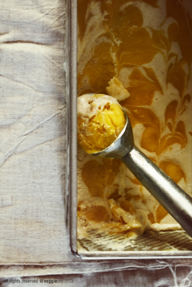 Mango swirl ice cream