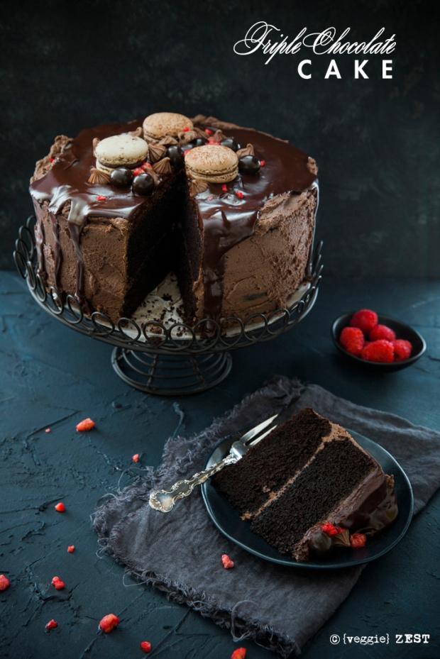 Triple Chocolate Cake veggiezest